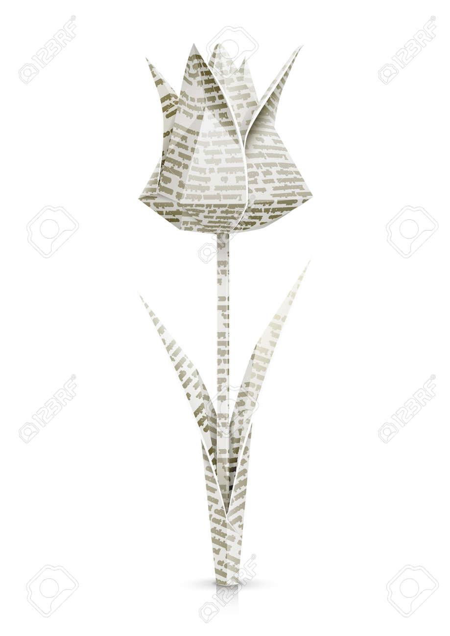 Tulipe Papier Origami Illustration Vectorielle Fleurs Isolé Sur Fond