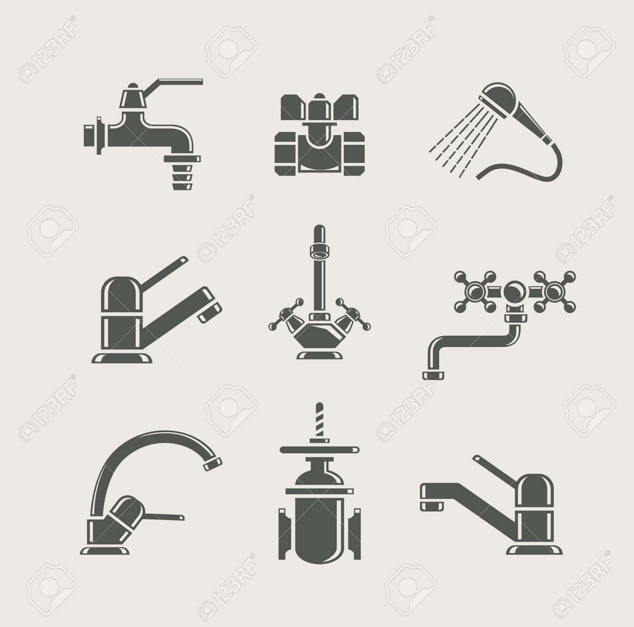 water-supply faucet mixer, tap, valve for water set icon - 13538969