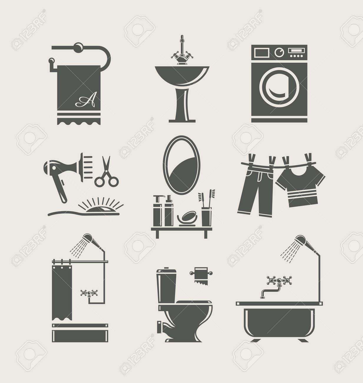 Bathroom Equipment Set Icon Royalty Free Cliparts Vectors And