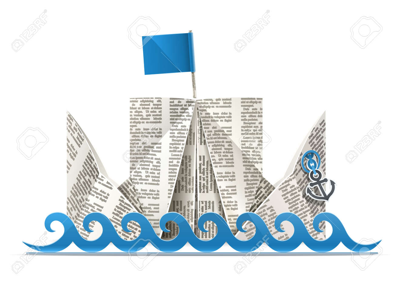ship with flag paper origami toy illustration isolated on white background. - 14316583