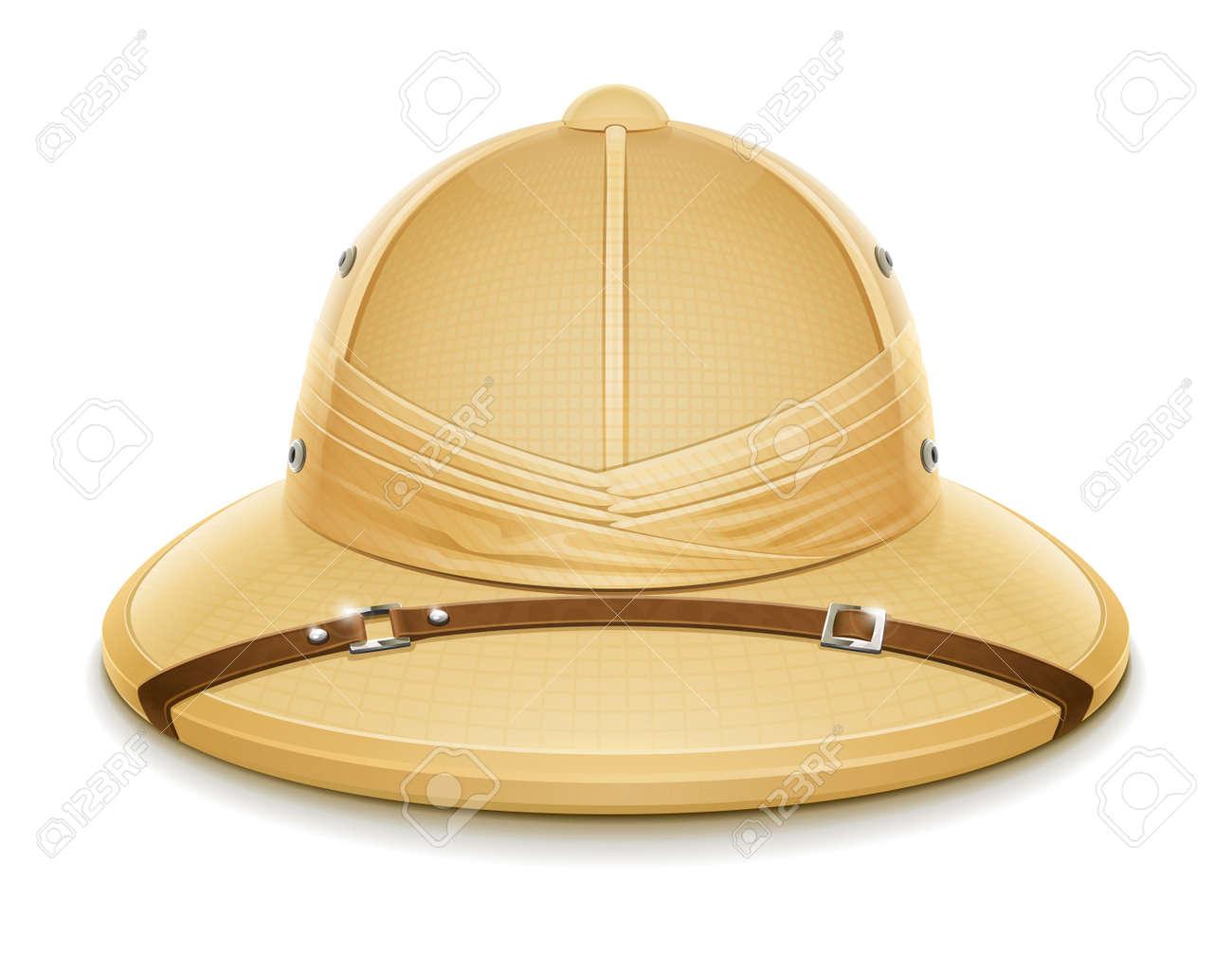 pith helmet hat for safari vector illustration isolated on white background - 15269482