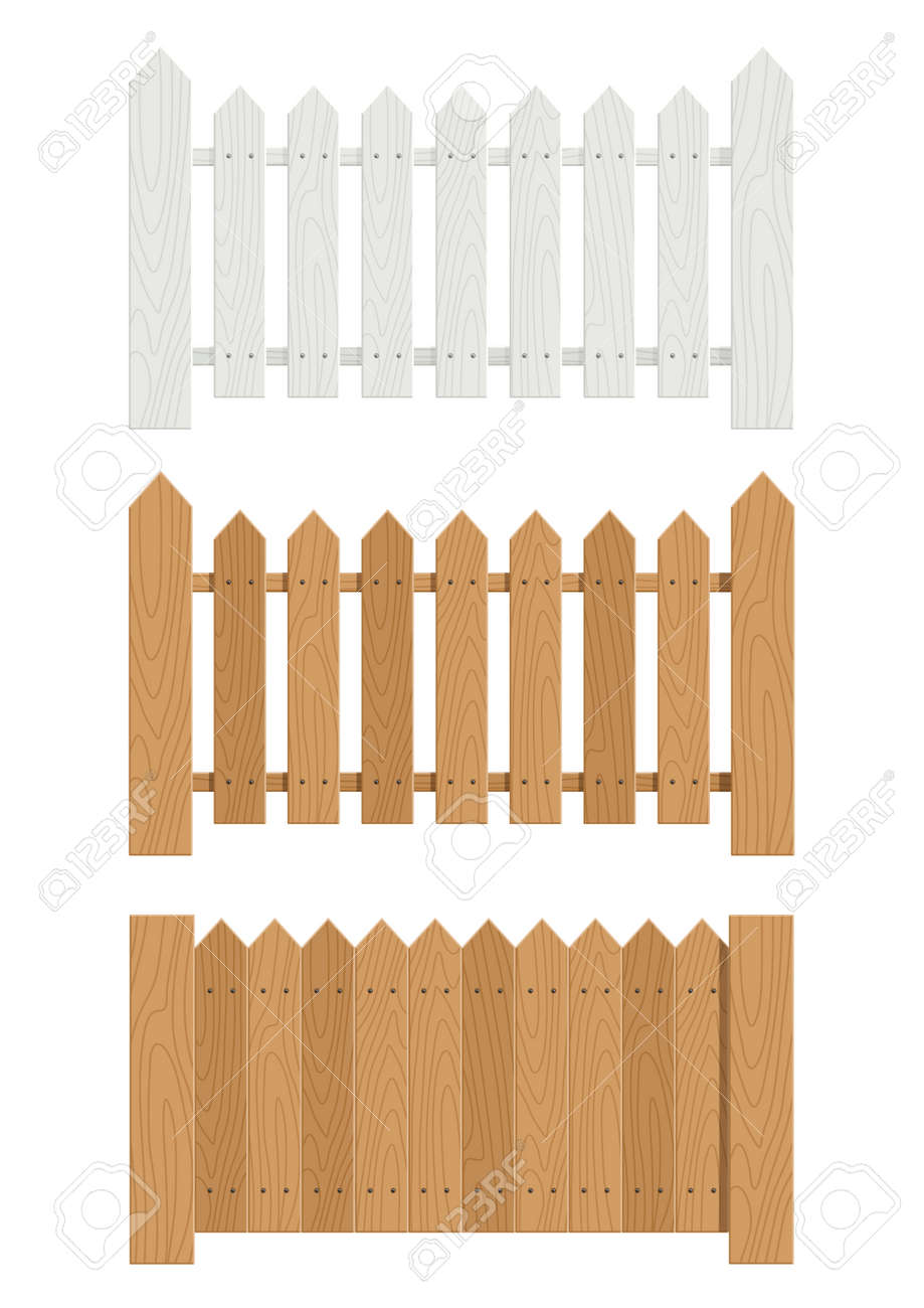 Wooden Fence Set Of Vector Illustration EPS10 Transparent Objects