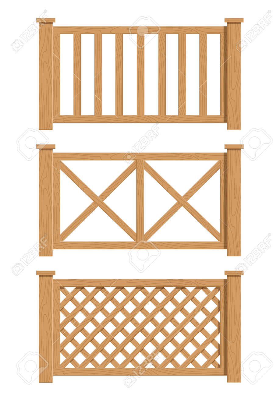 wooden fence set of vector illustration EPS10. Transparent objects and opacity masks used for shadows and lights drawing - 16836066