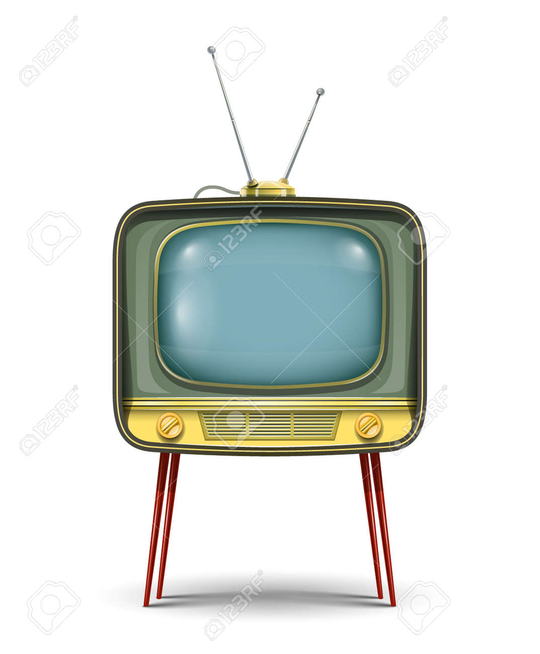 retro tv set illustration isolated on white background. Transparent objects and opacity masks used for shadows and lights drawing Stock Vector - 20042894