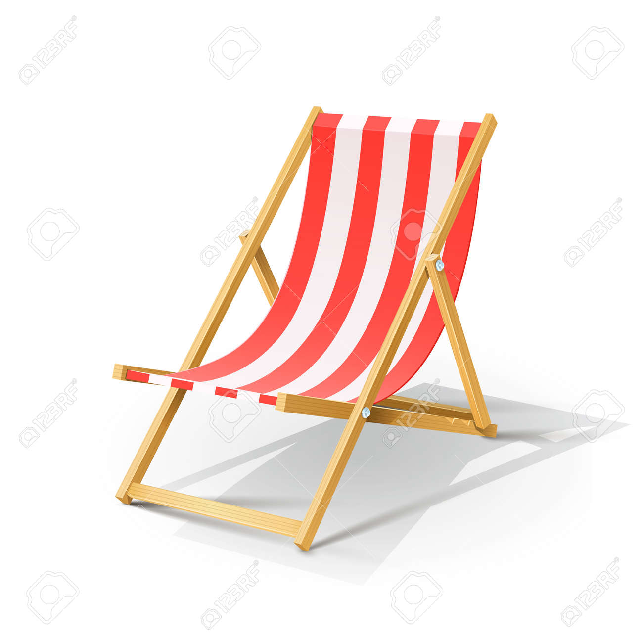 wooden beach chaise longue vector illustration isolated on white background EPS10. Transparent objects and opacity masks used for shadows and lights drawing Stock Vector - 20302646
