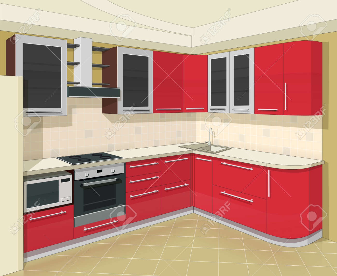 Kitchen Interior With Furniture Vector Illustration Royalty Free