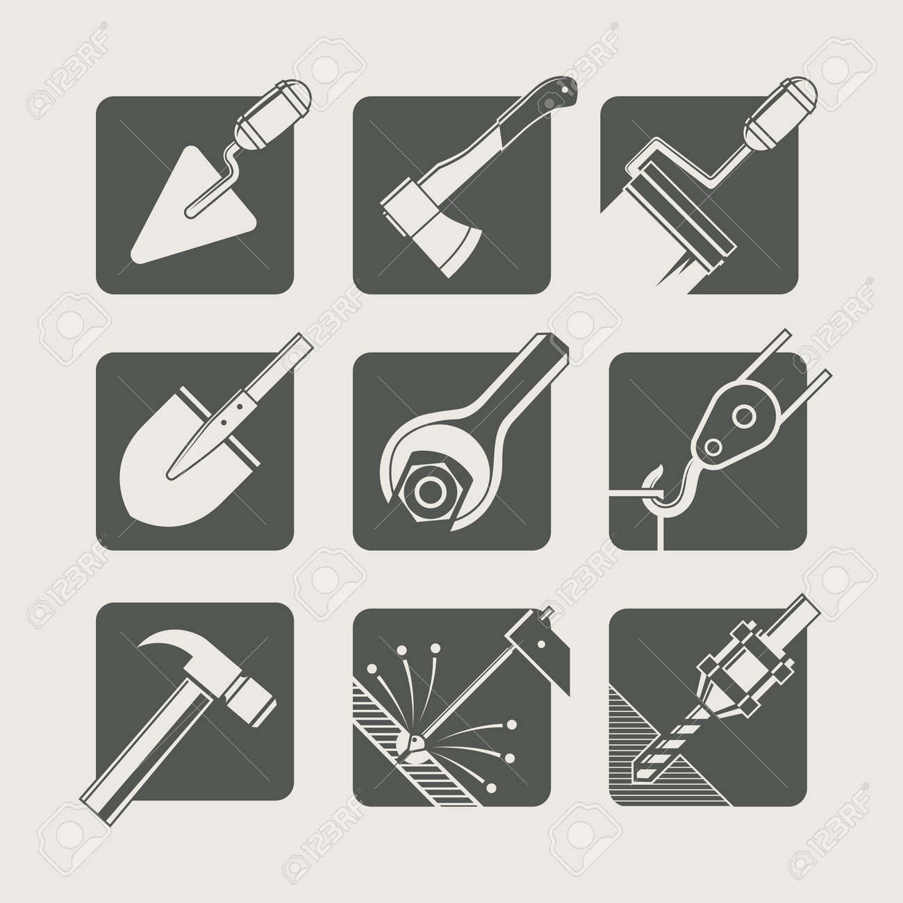 construction tools. set of vector icons. vector illustration - 24066742