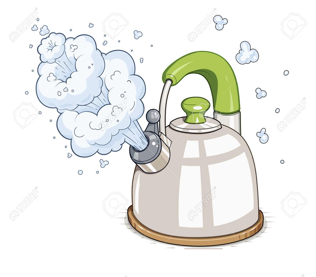 Kettle boil. illustration. Isolated on white background - 51375934