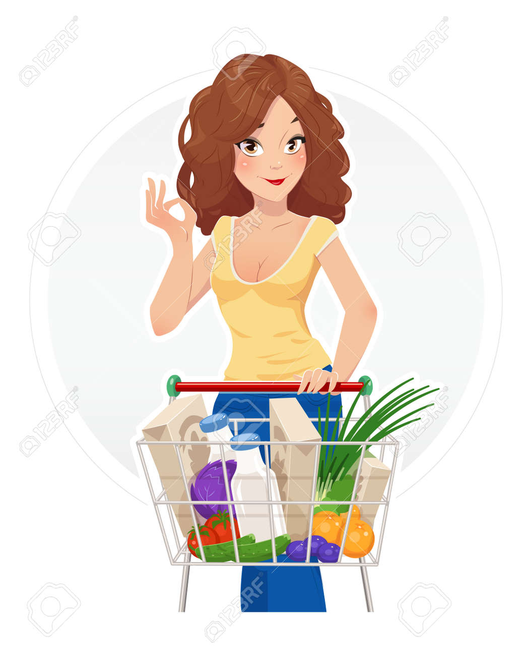 Shopping. Beautiful girl with shopping cart. Vector illustration, Isolated white background. Shopping trolley. Woman in shop. Lady in market. Supermarket. Foodstuff. Shopping in Supermarket. Foto de archivo - 59850111