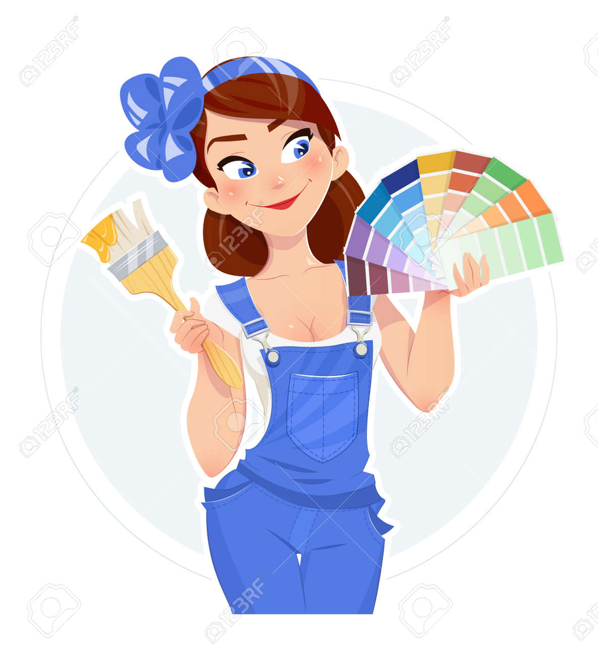 Beautiful girl with paint brush and color swatches. Vector illustration. Woman painter. Lady in overalls. Builder in uniform. Cartoon character. - 59850117