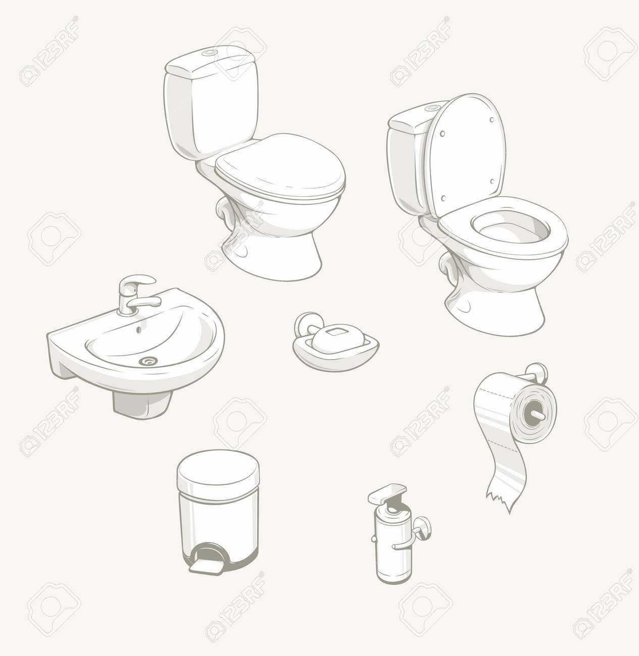 Bathroom And Toilet Equipment And Accessories. Vector Illustration ...