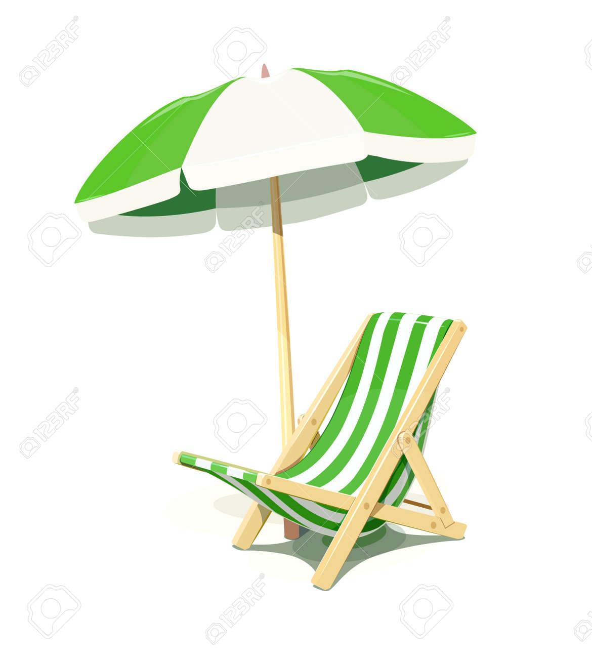 Strandstoel En Parasol.Strandstoel En Parasol Voor Zomerse Rust Geisoleerde Witte Achtergrond Eps10 Vector Illustratie