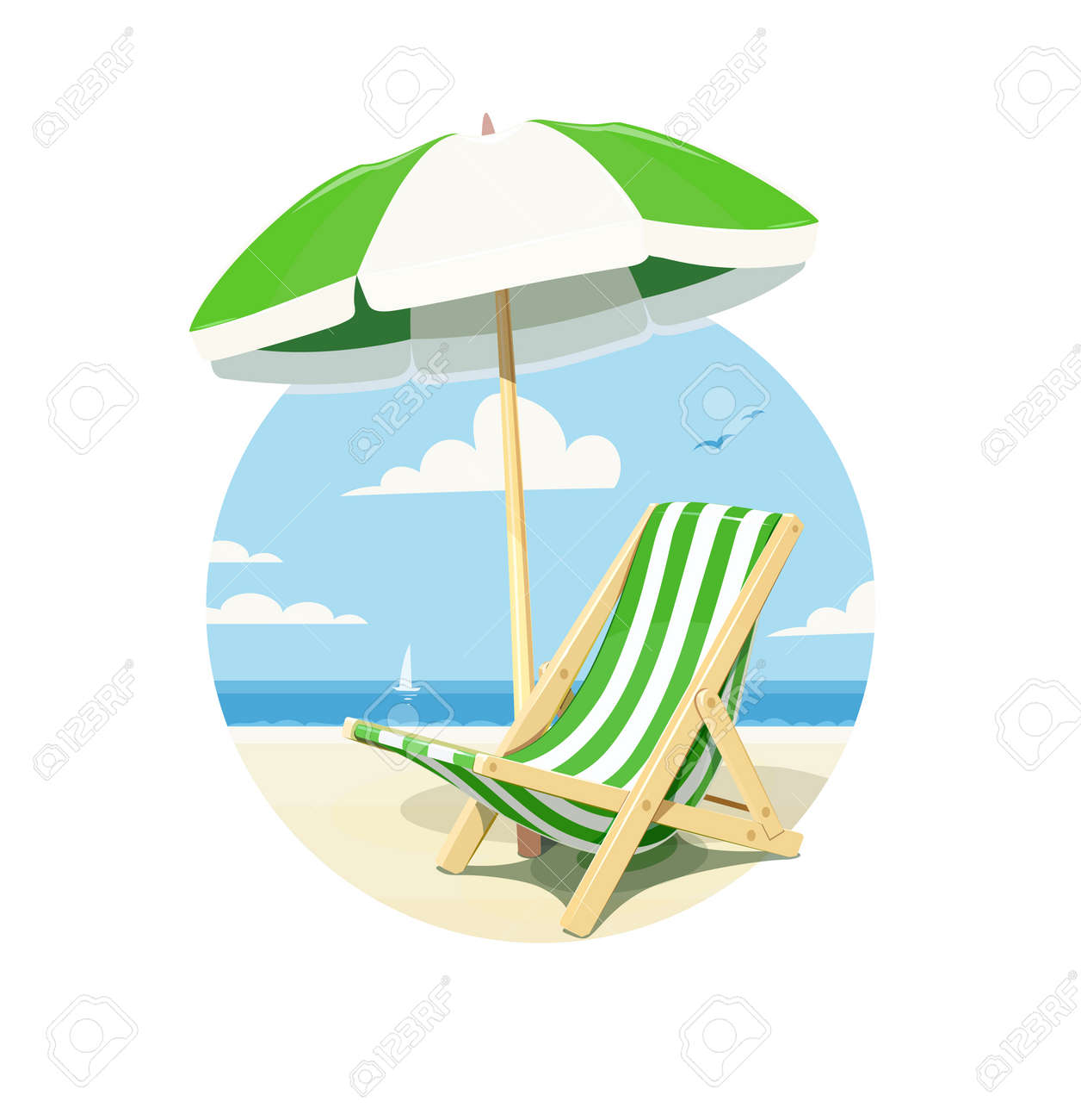 Strandstoel Met Parasol.Strandstoel En Parasol Voor Zomerse Rust Geisoleerde Witte Achtergrond Vector Illustratie
