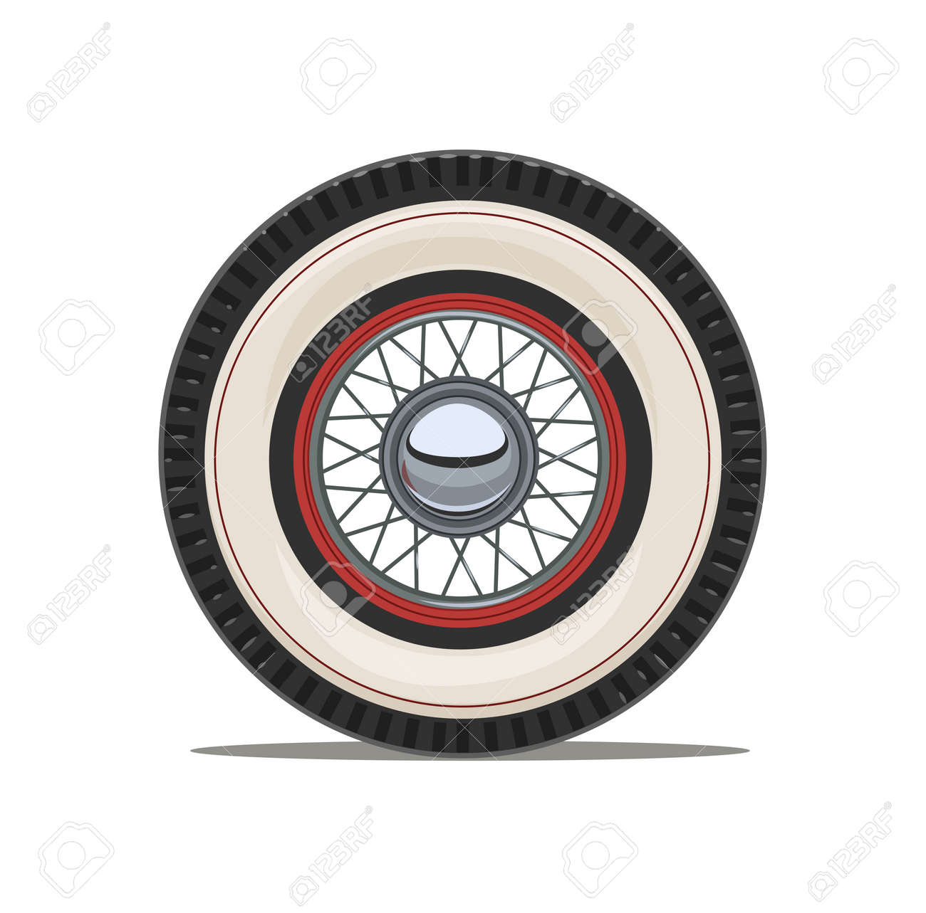 Vintage Car Wheel With Spoke, Isolated White Background. Eps10 ...