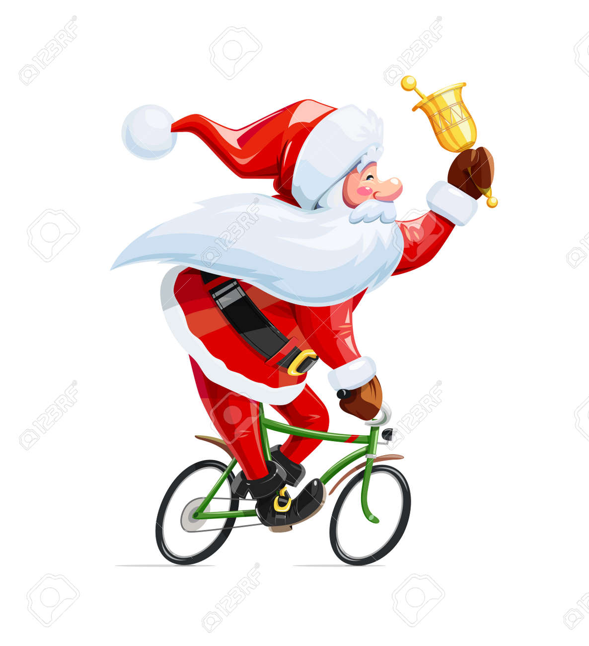 Santa claus with bell at bicycle. Christmas cartoon character. Old-man drive cycle to new year celebration. Winter holiday. - 81129916