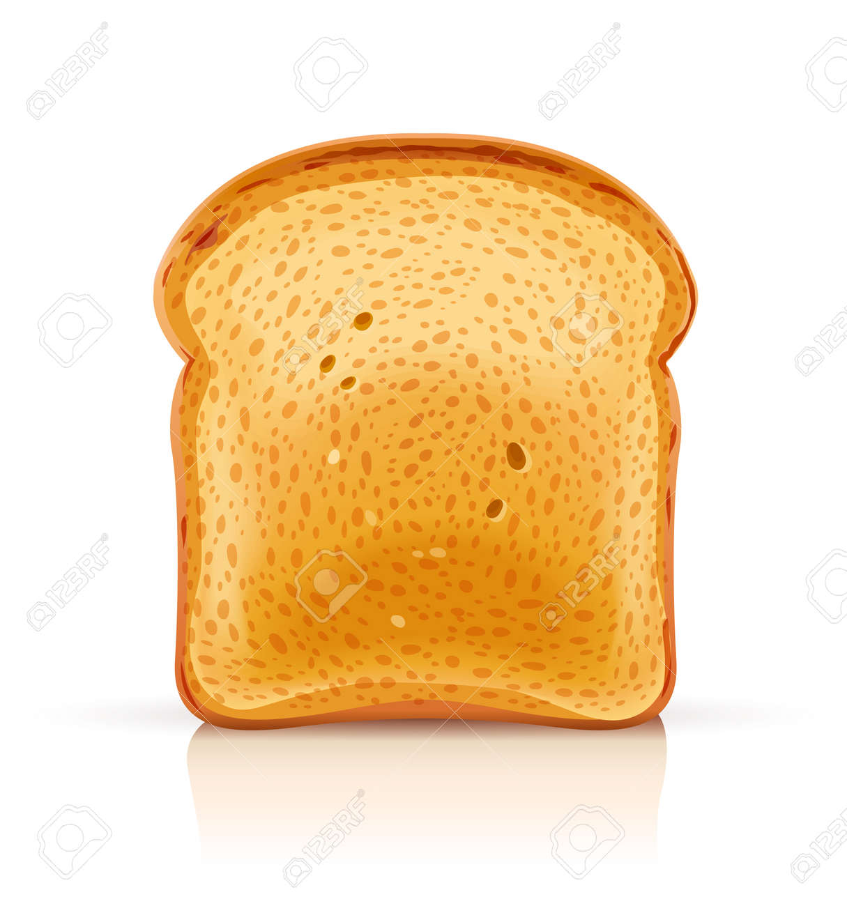 Bread toast for sandwich piece of roasted crouton. Lunch, dinner, breakfast snack. Isolated white background. EPS10 vector illustration. - 100225981