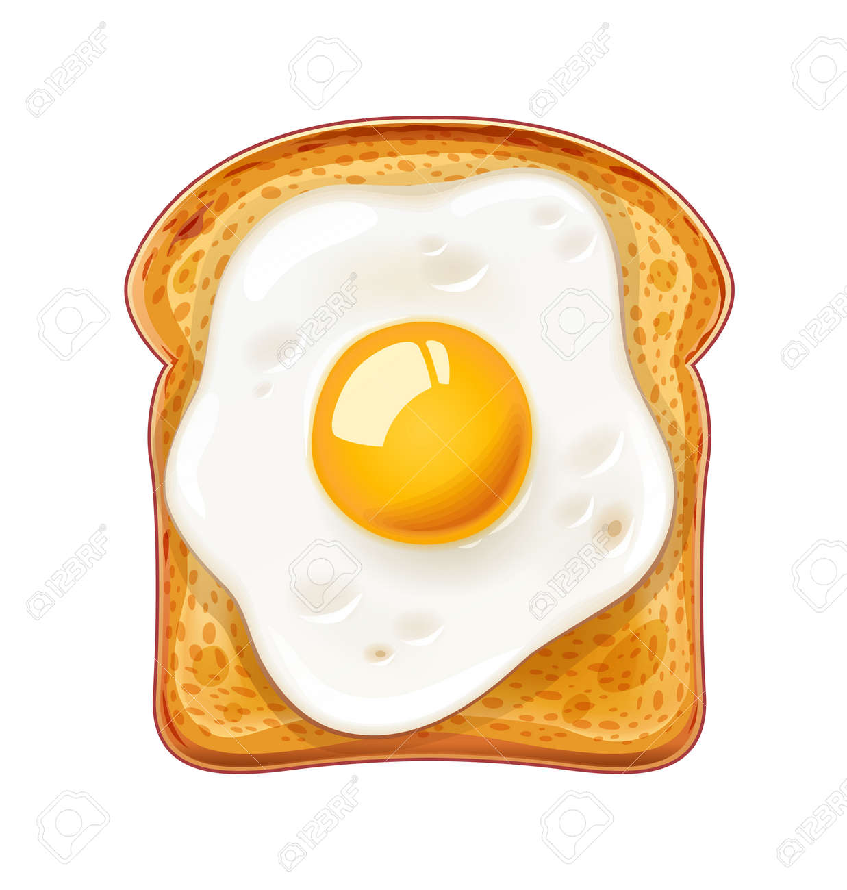 Sandwich with Fried egg. Fast food. Cooking lunch, dinner, breakfast. Natural product. Cooked omelet. Scrambled eggs. Isolated white background. EPS10 vector illustration. - 100567380