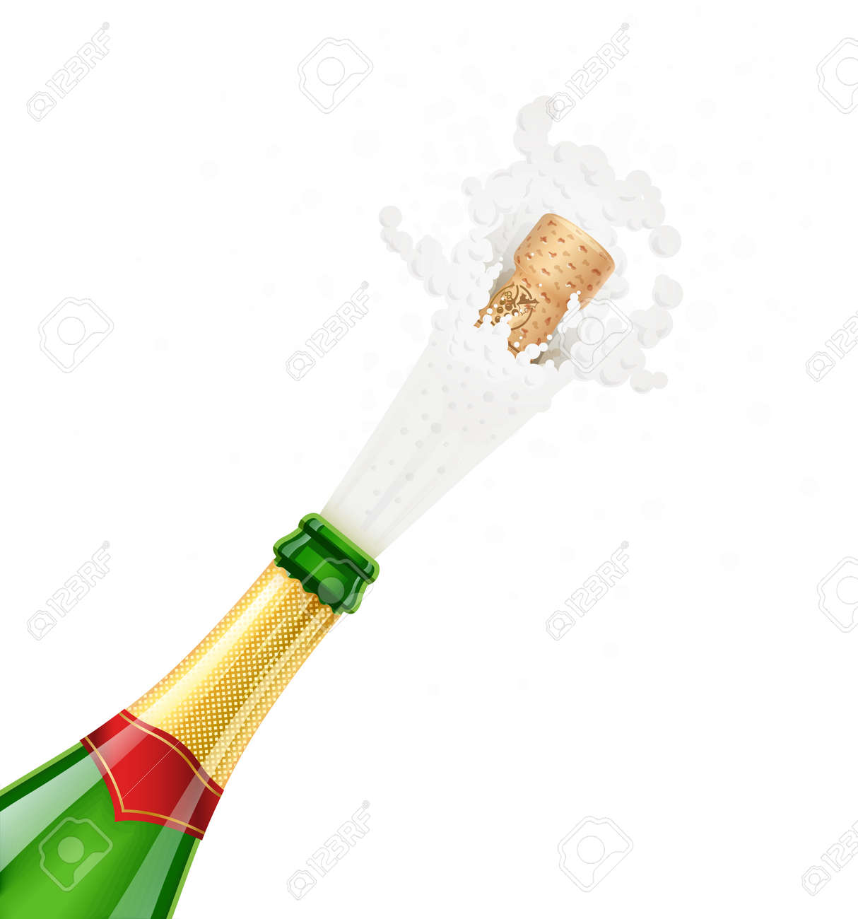 Champagne Green Bottle Explode Traditional French Alcohol Drink