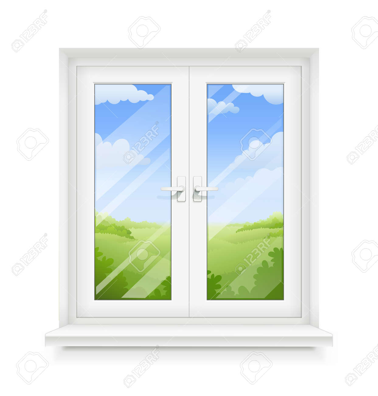 White classic plastic window with windowsill. Transparent framing interior design element. Construction part. Clean domestic glass. Sky and ground panorama view. EPS10 vector illustration. - 104111530