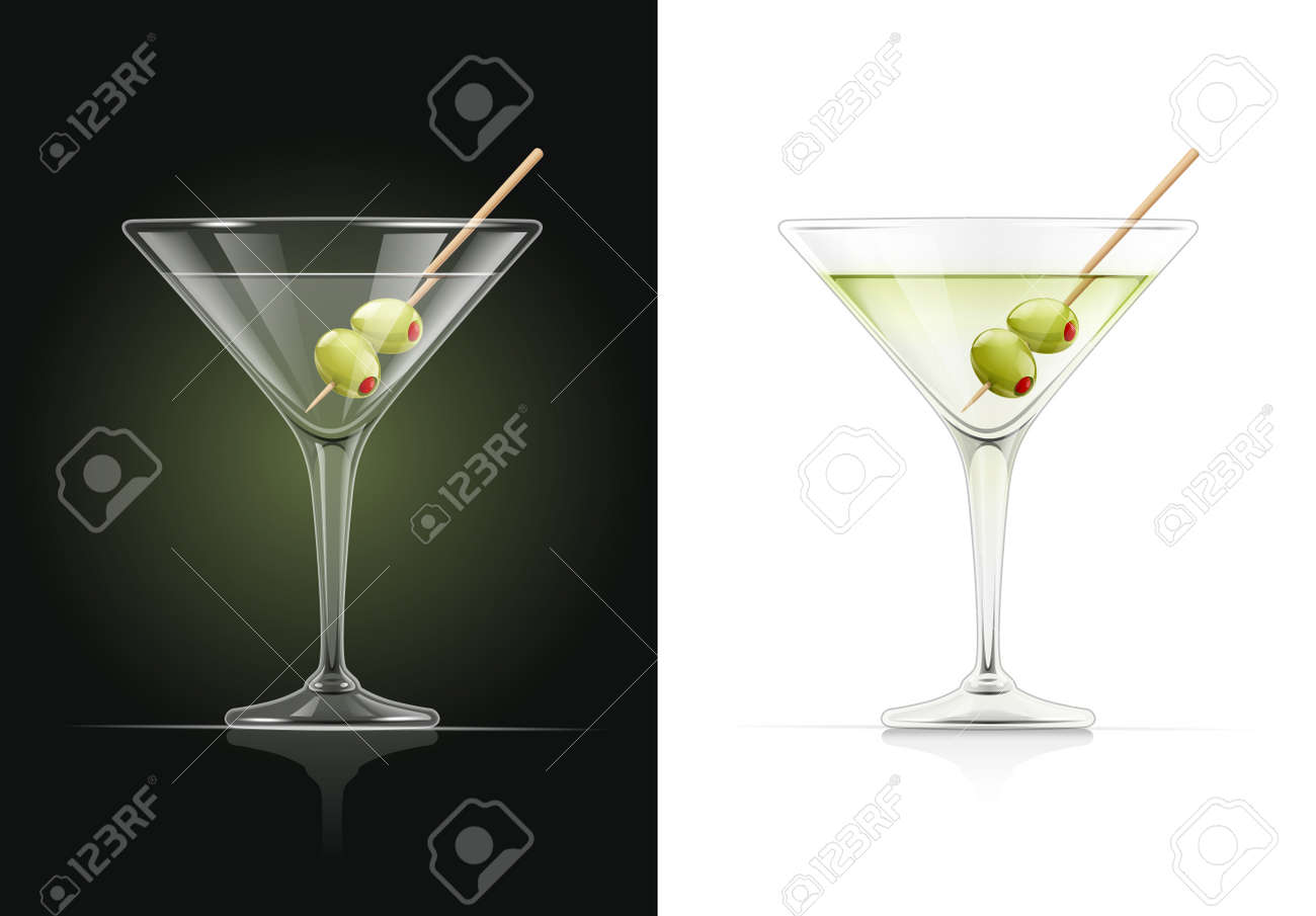 Martini glass. Cocktail. Alcoholic classic drink. Dry vermouth with green olive. EPS10 vector illustration. - 114916998