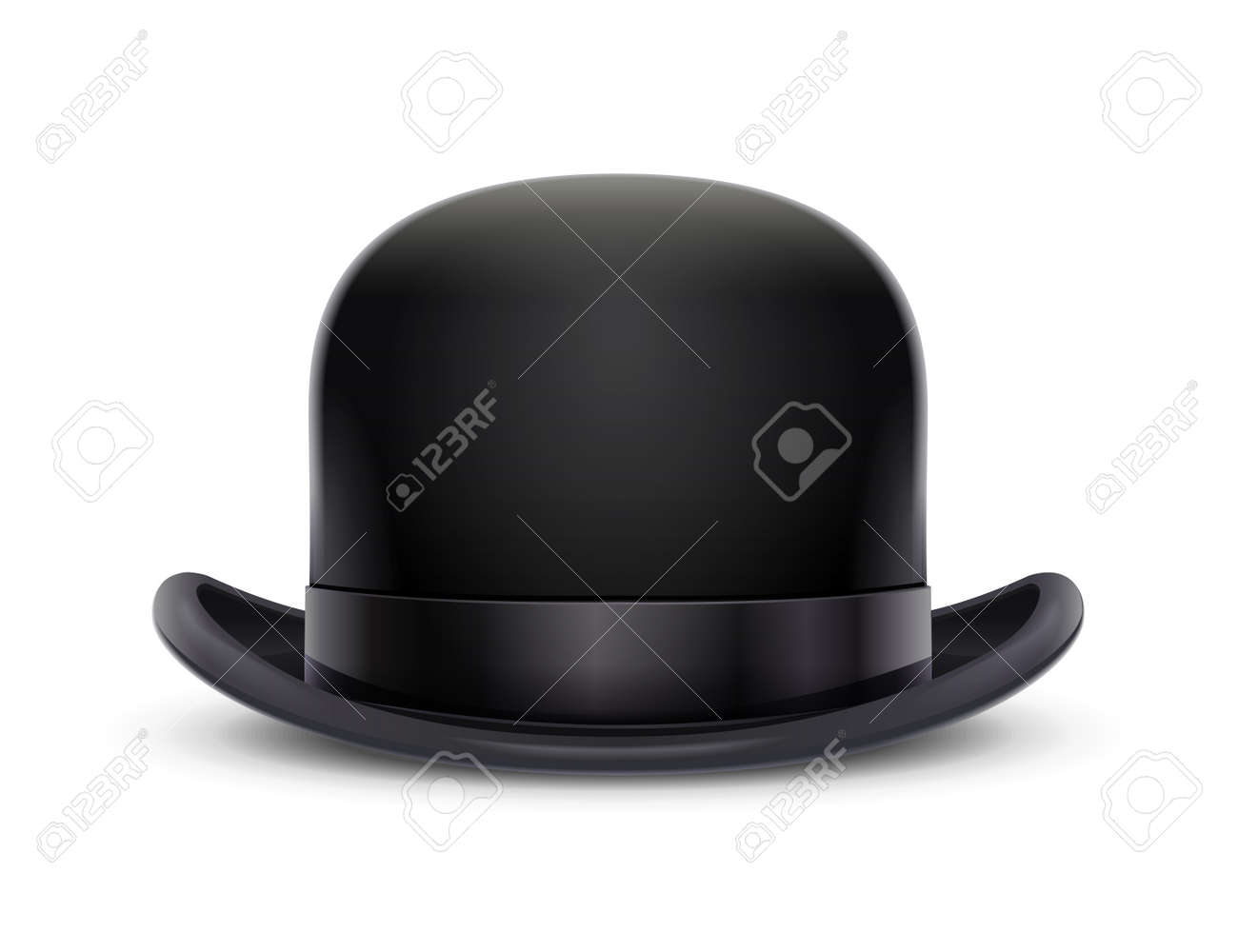 Vintage classic bowler hat. Stylish headgear for gentleman. Retro wear accessory. Male fashion. Trendy clothes. Isolated white background. Eps10 vector illustration. - 125223081