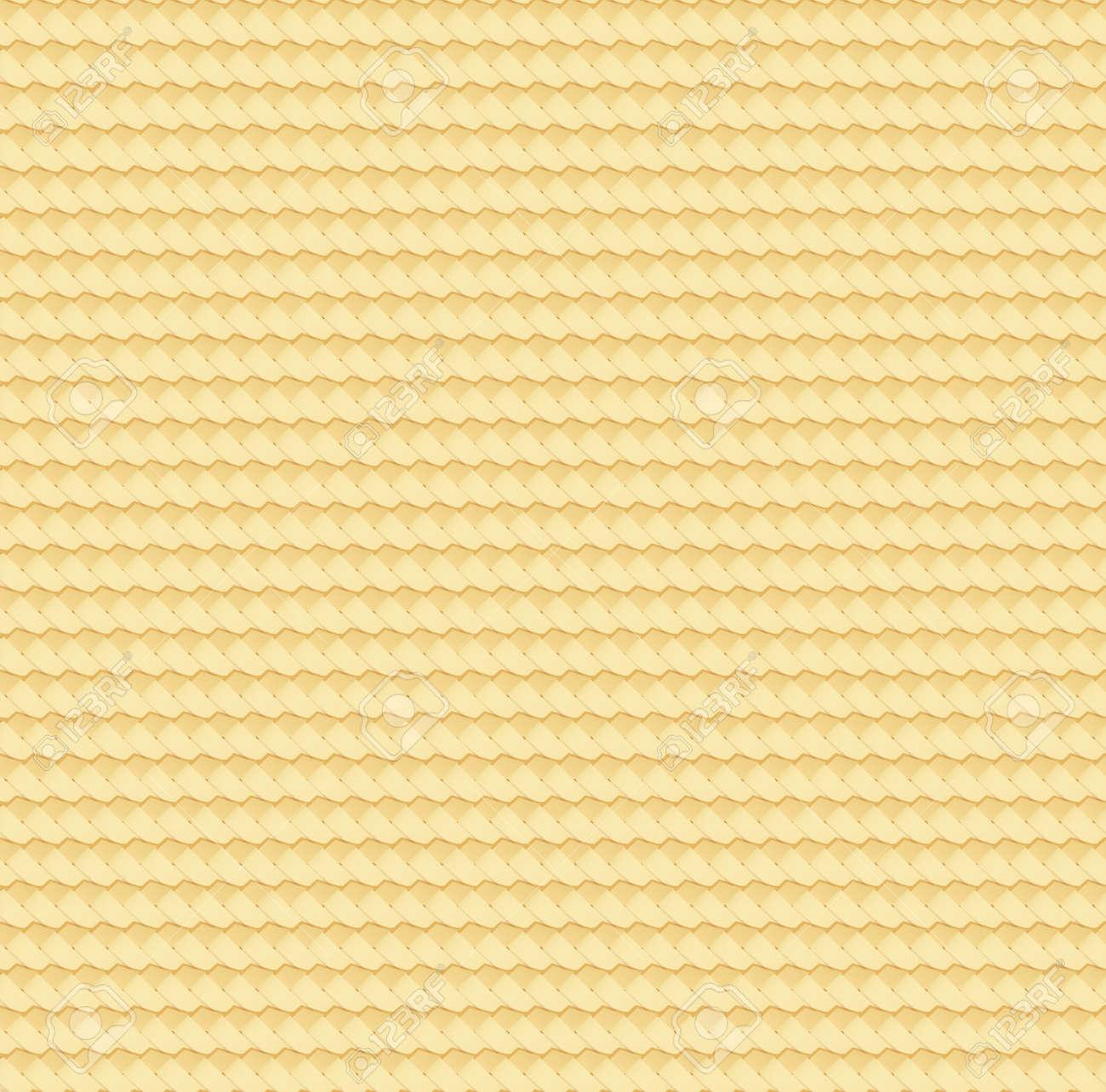 Straw abstract texture. Rattan wattled mat. Natural bamboo seamless pattern. Basket wicker surface. Wickerwork reed carpet. Vector illustration. EPS 10 - 124875364