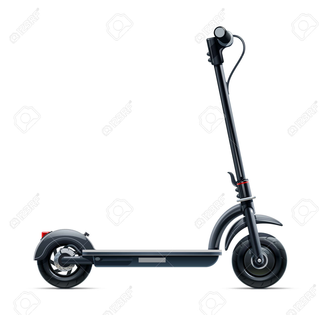 Black scooter. Urban transport. Eco electric vehicle. Street cycle. Isolated on white background. - 125577820