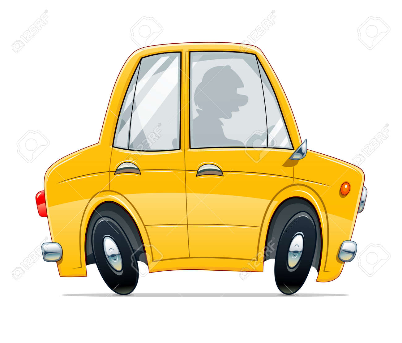 Vintage yellow car. Cartoon character, Isolated on white background. - 168582641