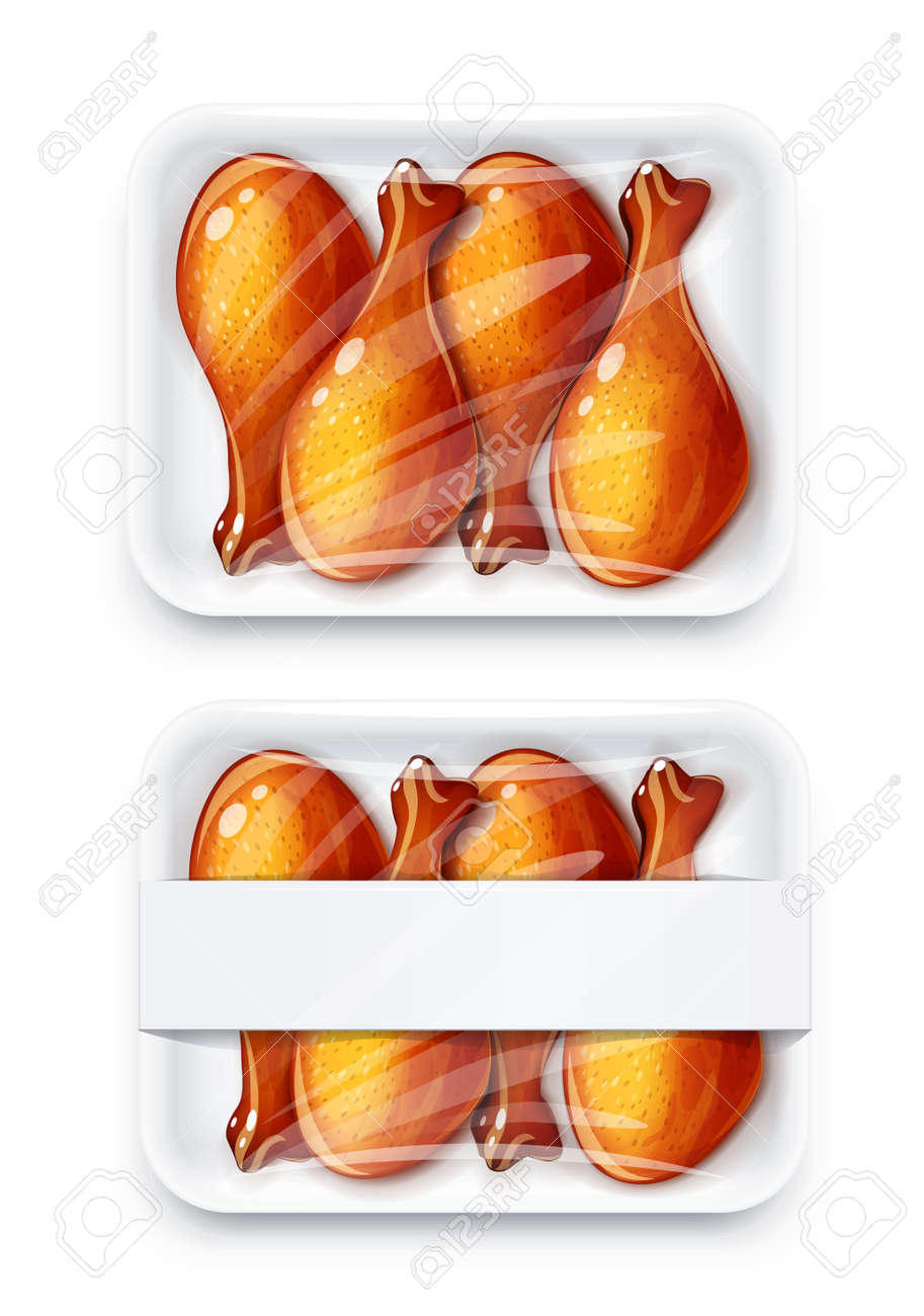 Chicken drumstick in plastic disposable packing. Mock-up design, Isolated on white background. - 169300705