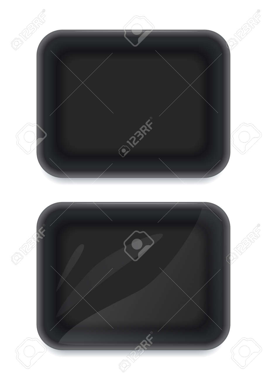 Black plastic disposable packing for food. Mock-up design, Isolated on white background. - 169300709