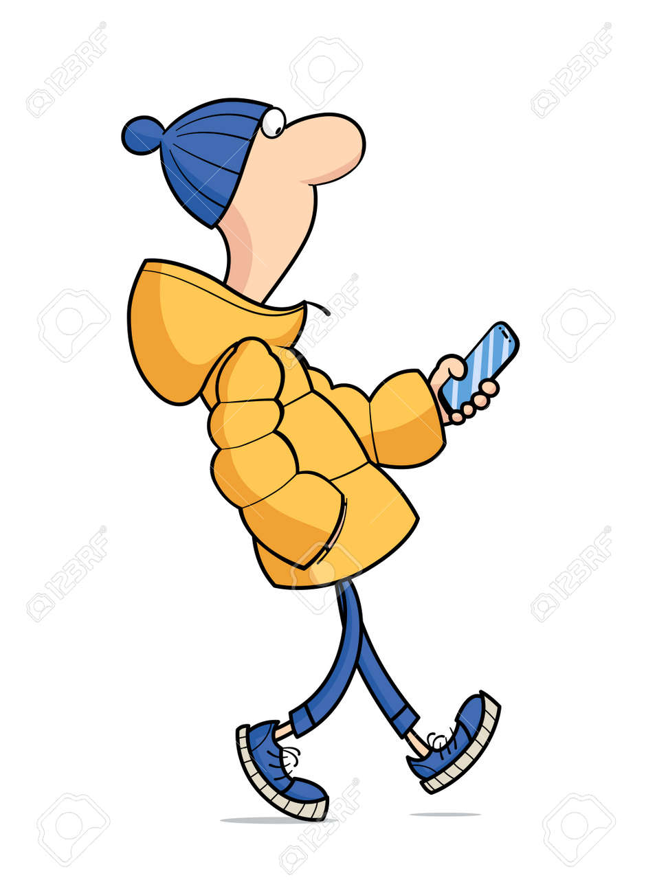 Young guy in winter jacket walk. Cartoon character with phone, Isolated on white background. - 169300707