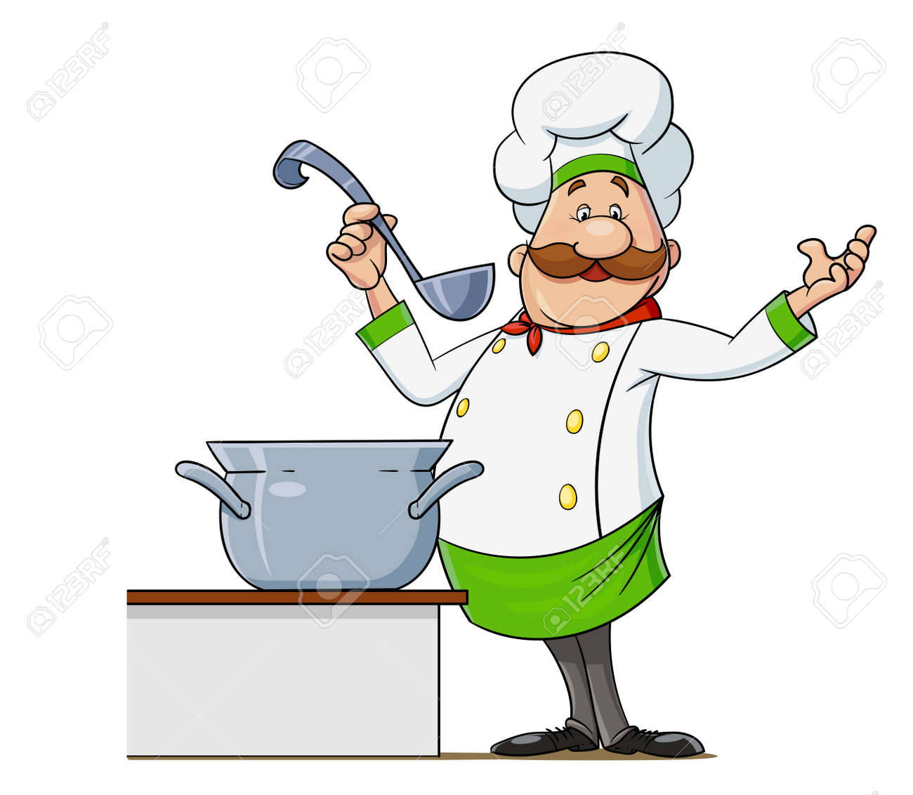 Cook with moustache and spoon. Cartoon character at restaurant kitchen, Isolated on white background. Eps10 vector illustration. - 170191251