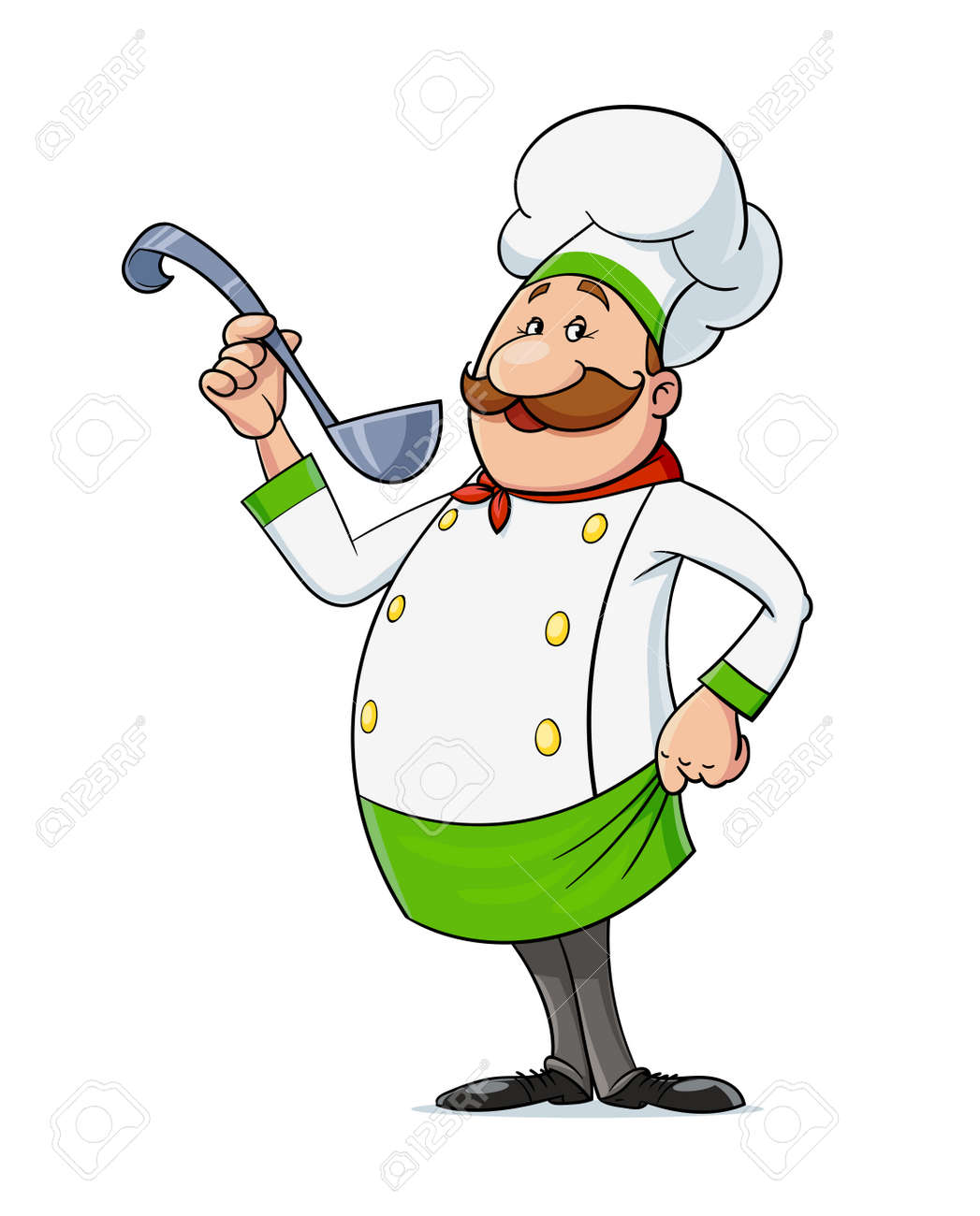 Cook with moustache and spoon. Cartoon character at restaurant kitchen, Isolated on white background. Eps10 vector illustration. - 170190320