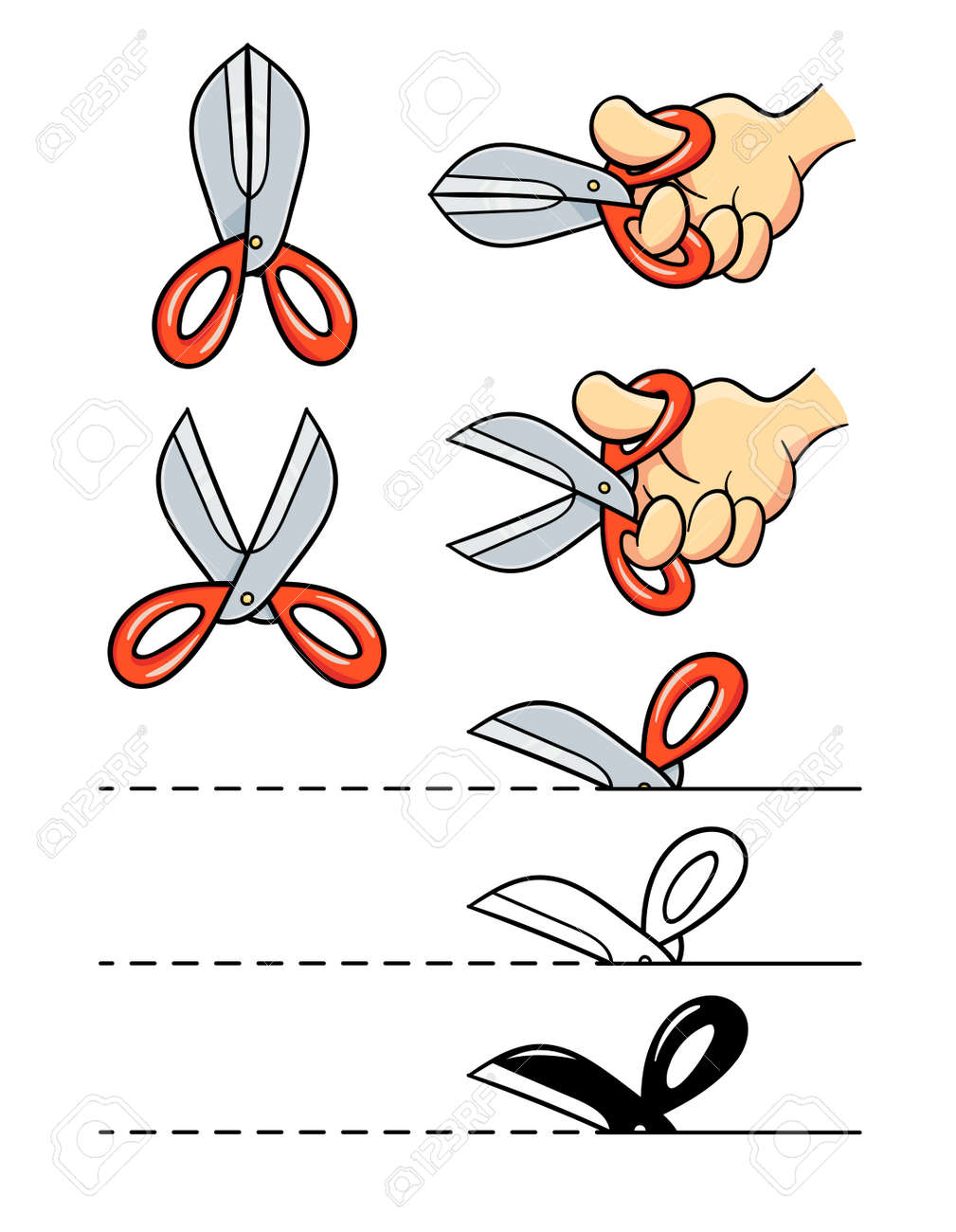 Scissors in arm cut paper. Design element. Cartoon. Set, Isolated on white background. Eps10 vector illustration. - 170190487
