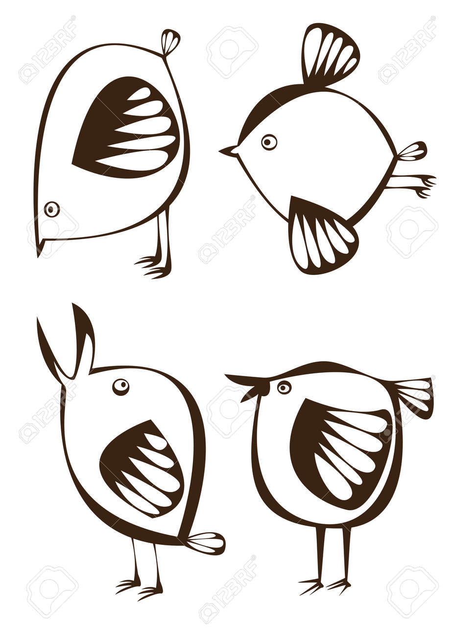 vector set of four graphic cartoon birds on white background Stock Vector - 17470510