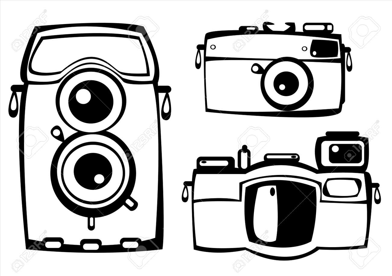 Camera Vintage Vector Free : Vector set of three vintage film photo cameras isolated on white
