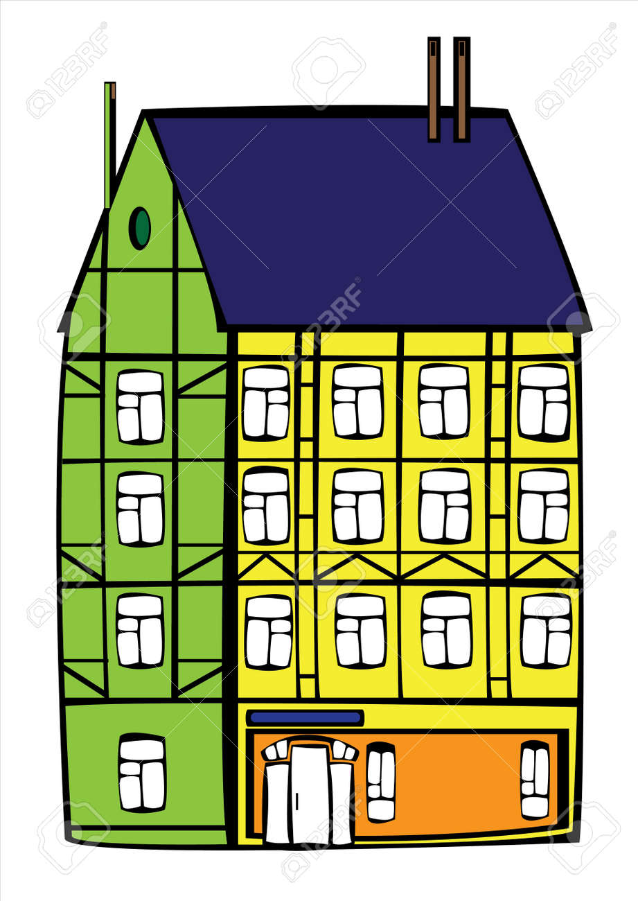 vintage color house isolated on white background Stock Vector - 19095164