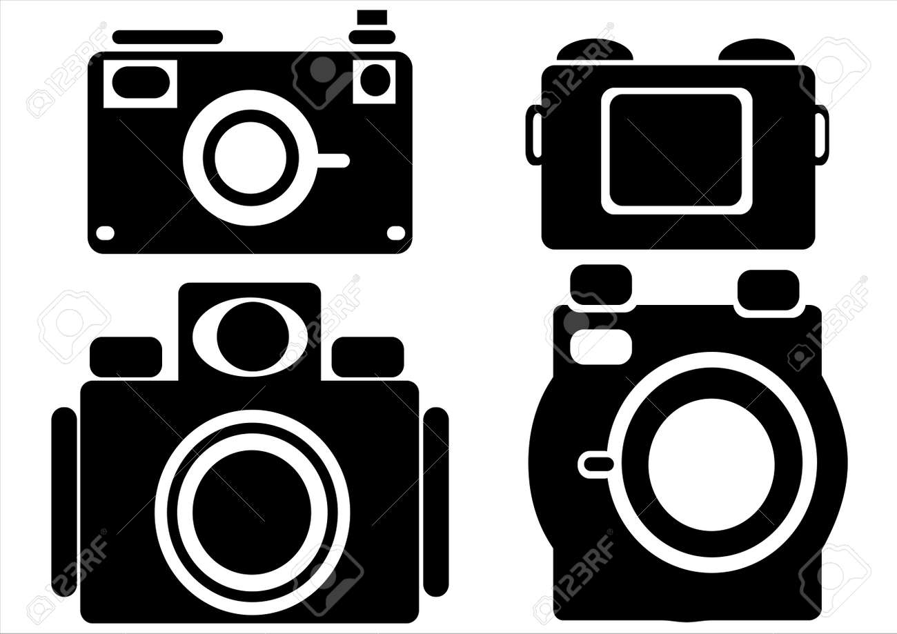 camera icons isolated on white background Stock Vector - 23011378