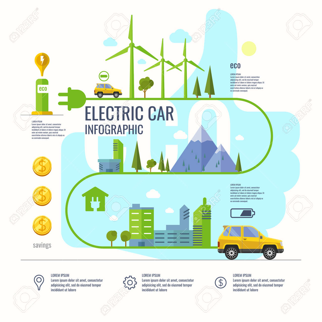 Infographic Poster About Electric Cars Modern Vector Illustration Royalty Free Cliparts Vectors And Stock Illustration Image 53157569