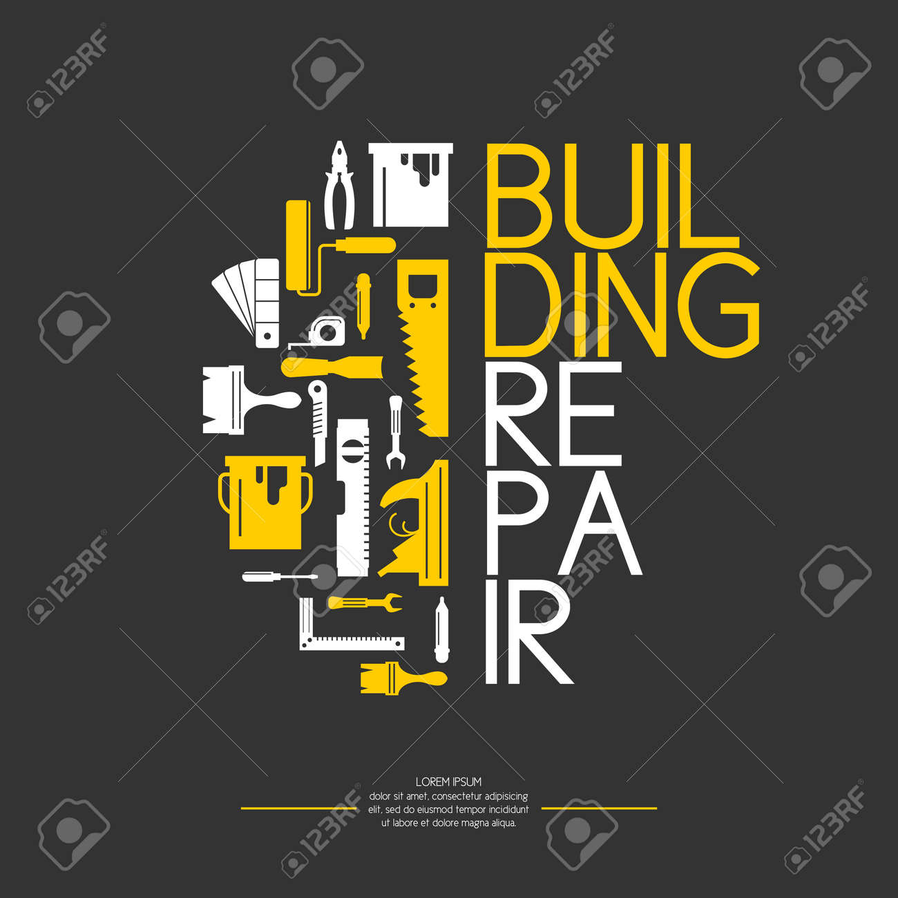 Hand tools for home renovation and construction. Tools in a bright, flat style. Building and house repair. Roller, brush, paint, pencil, tool, hammer, tape measure, putty knife, pencil. - 55388099