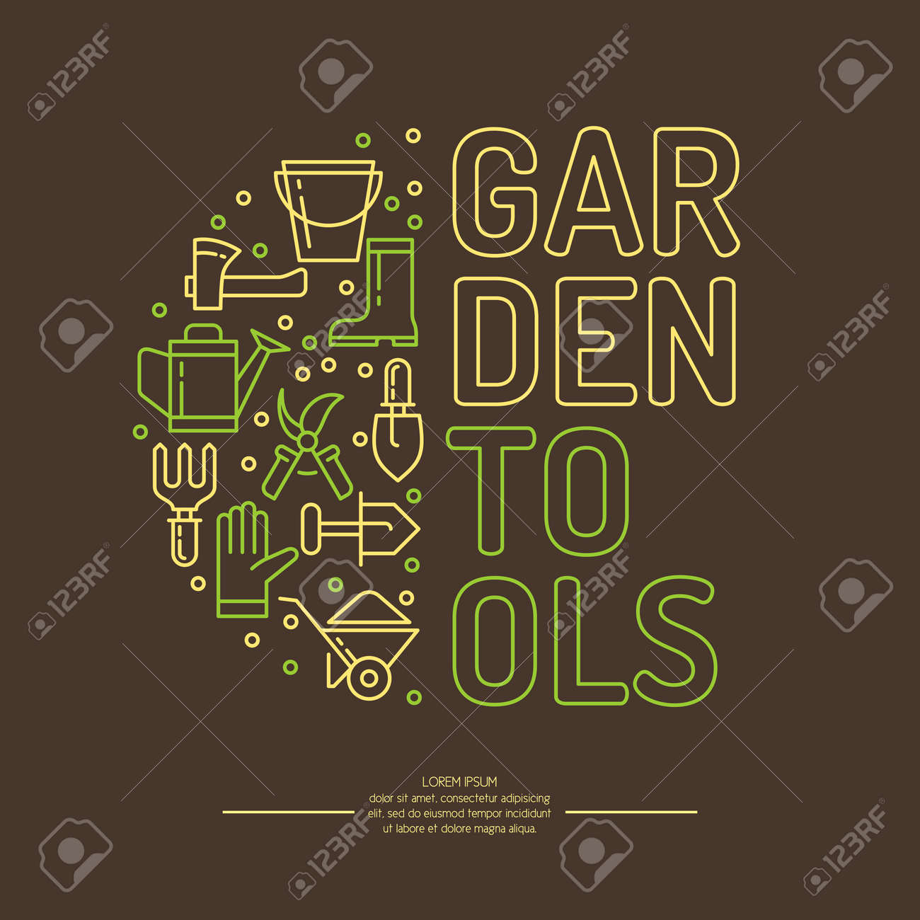 Poster With Tools For The Garden. Signs And Symbols Of Gardening ...