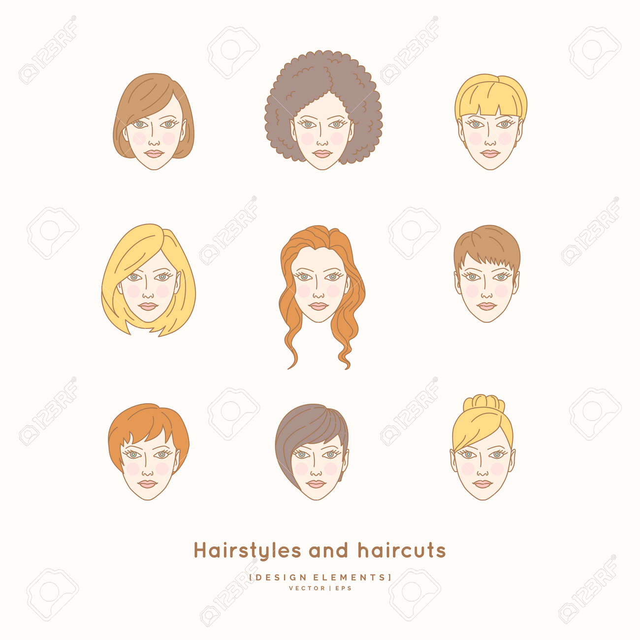Set Of Female Faces With Different Hairstyles And Haircuts