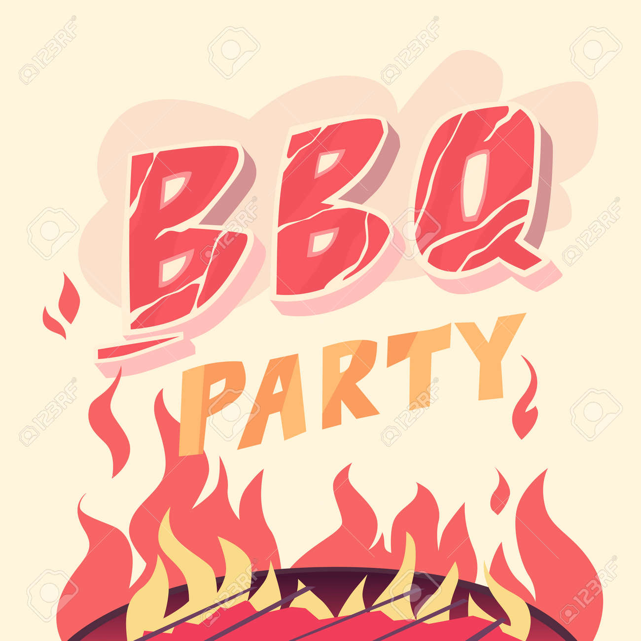 bbq party illustration in cartoon style the grill and meat