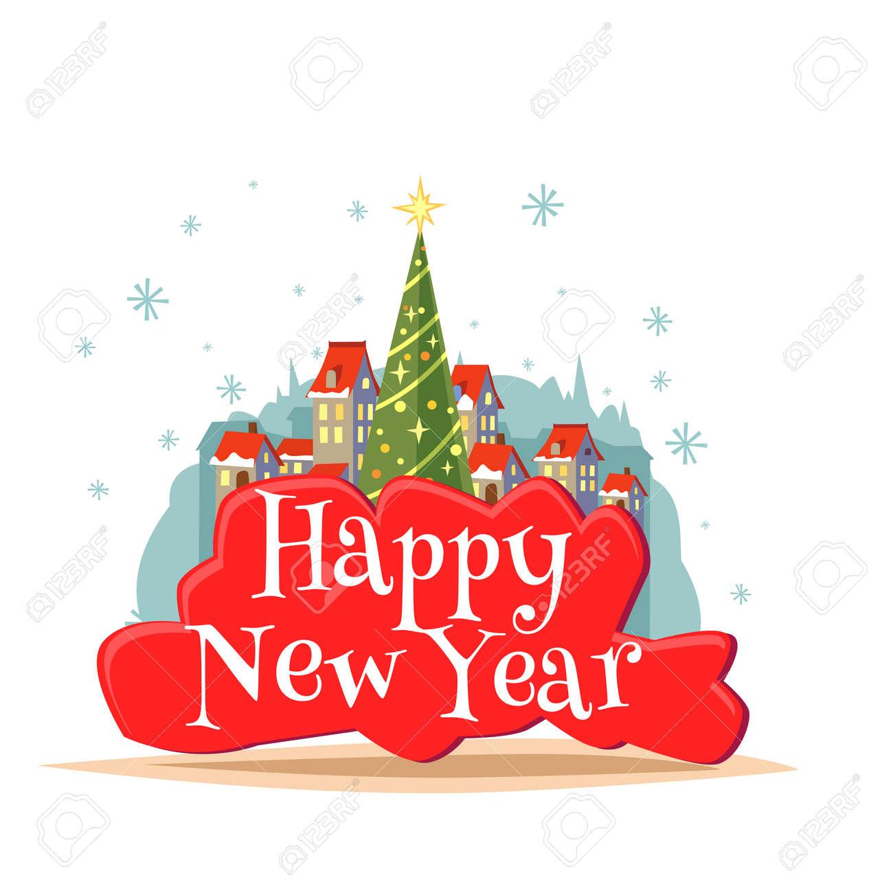 Immagini Piccole Di Natale.Cartolina Felice Anno Nuovo Con Iscrizione Illustrazione Di Albero Di Natale E Il Villaggio Con Piccole Case