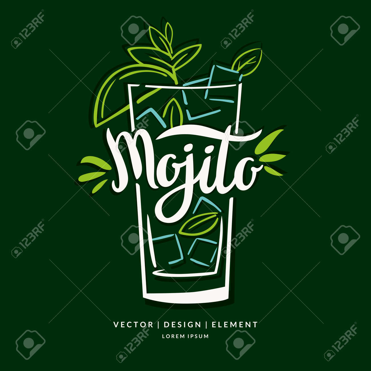 Modern hand drawn lettering label for alcohol cocktail Mojito. Calligraphy brush and ink. Handwritten inscriptions for layout and template. - 67842274