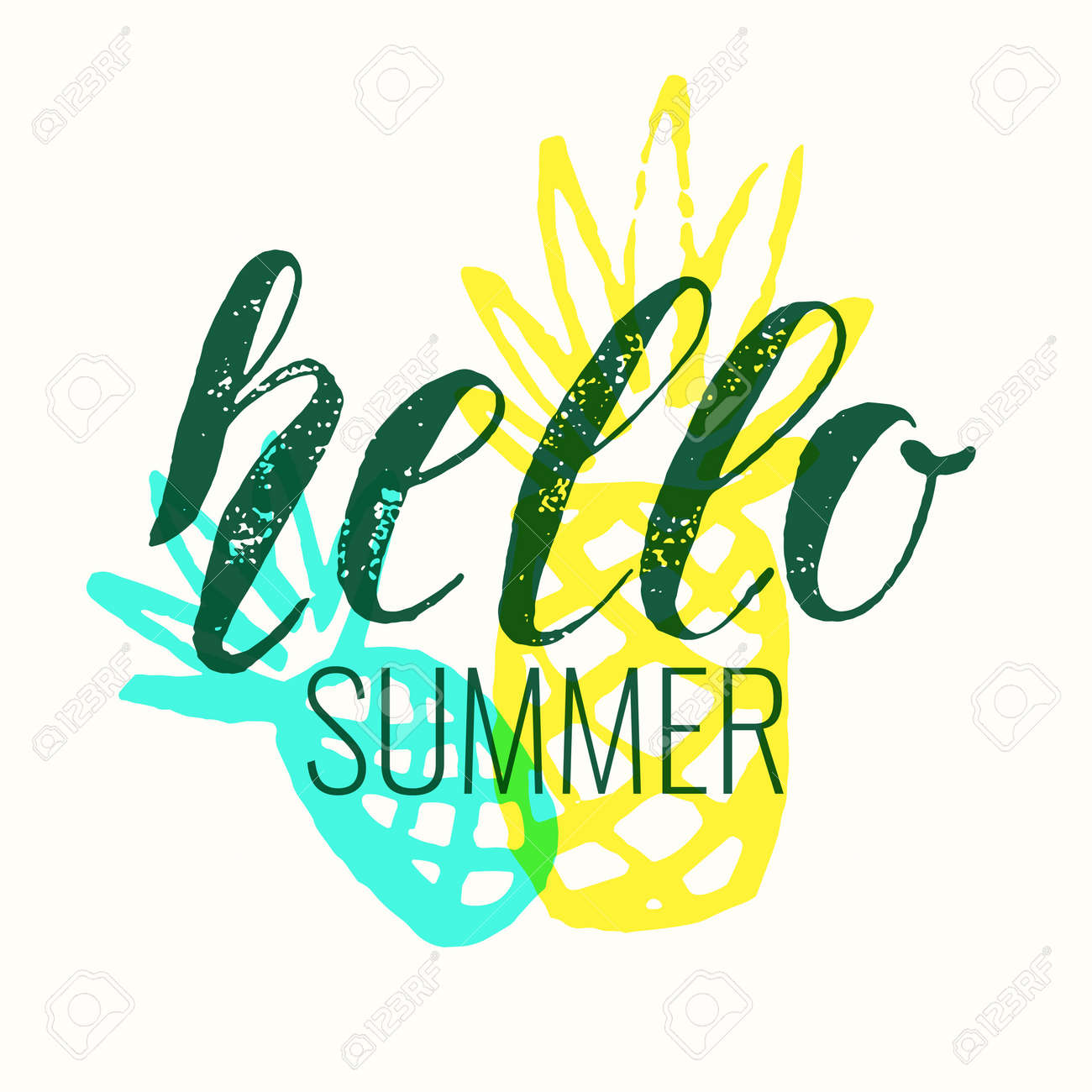 Hello Summer Modern Hand Drawn Lettering Phrase Calligraphy