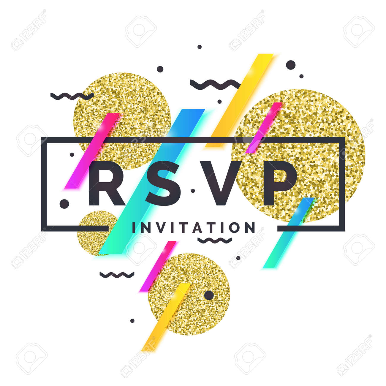 RSVP. Einladungsvorlage Für Die Veranstaltung. Vektor-Illustration ...