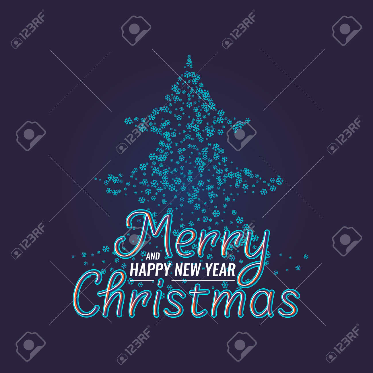 Merry Christmas and Happy New Year. Modern hand drawn lettering phrase.  Handwritten inscriptions and