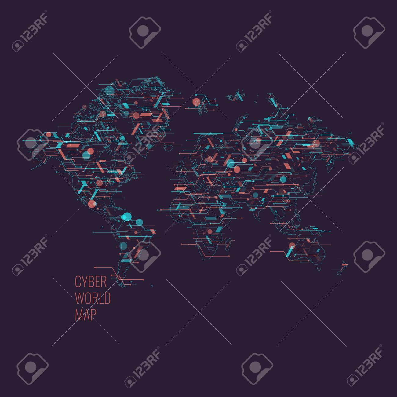 World map on a dark background global digital technologies and vector world map on a dark background global digital technologies and communications vector illustration gumiabroncs Choice Image