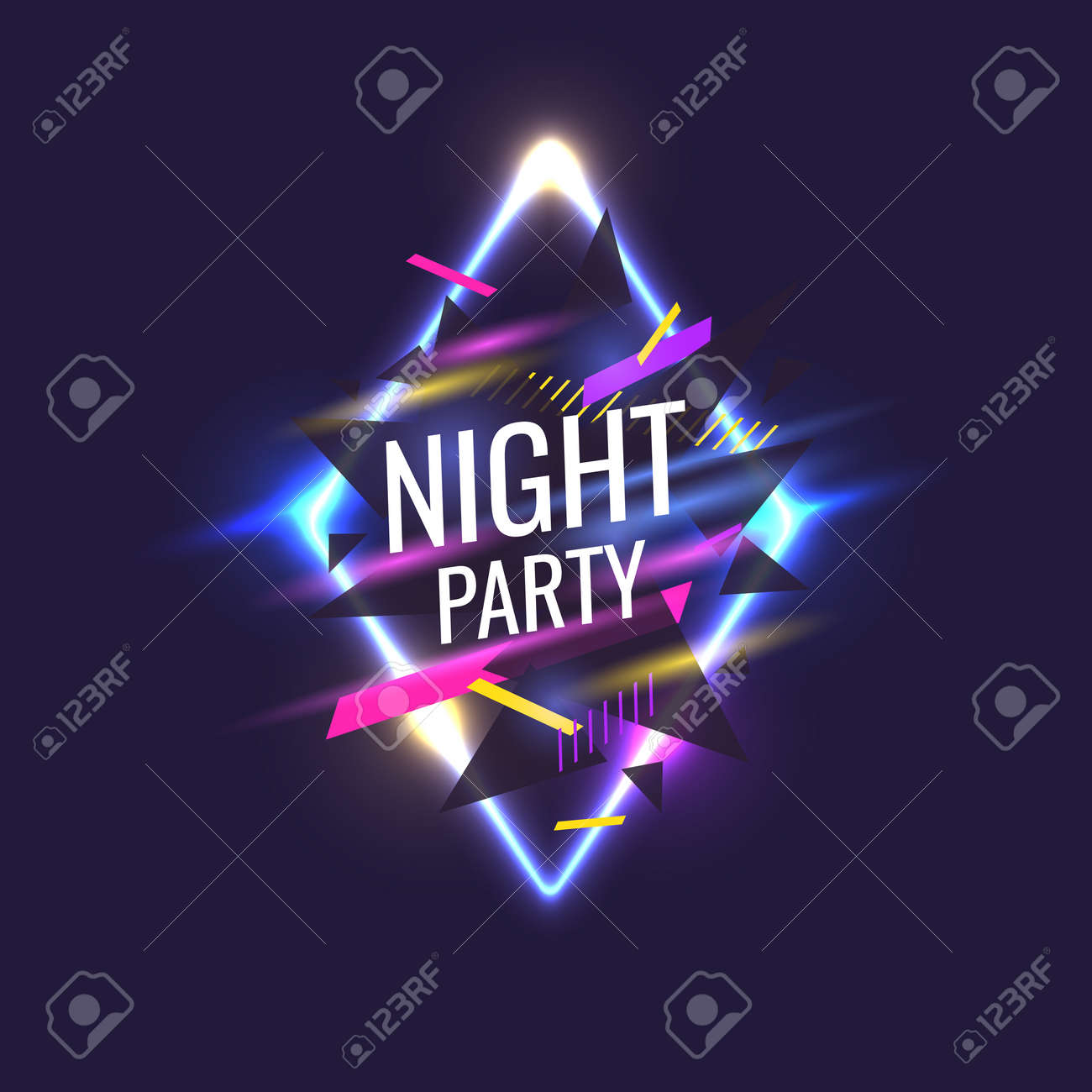 Original Poster For Night Paty Geometric Shapes And Neon Glow